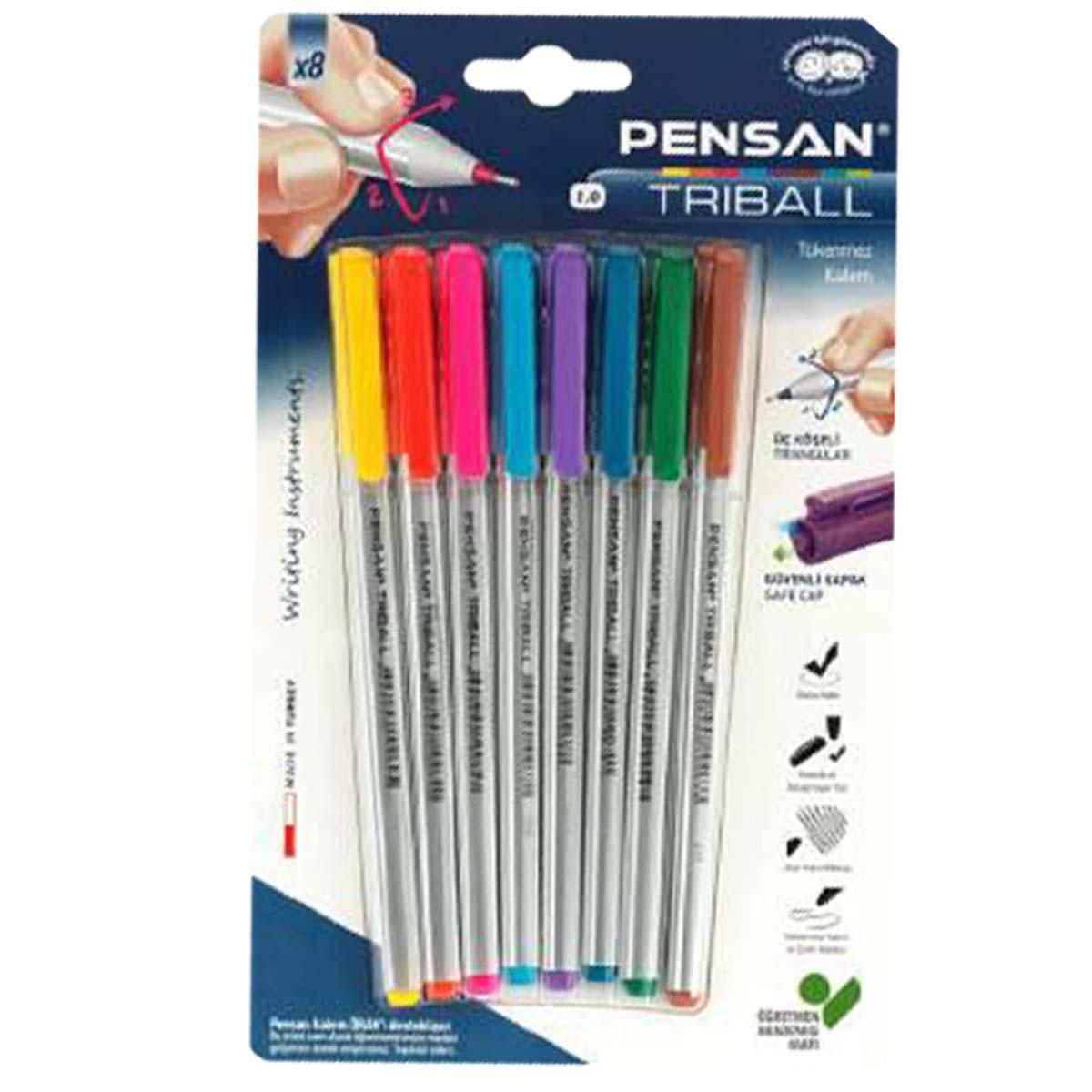 خودکار تریبال- ست 8 عددی خودکار رنگی بلیستری