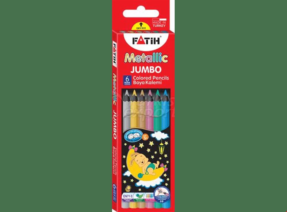 مداد رنگی 6 رنگ جامبو متالیک